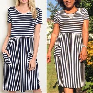 Navy short sleeve round neck striped tunic dress